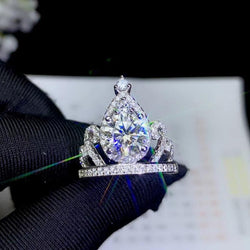 Platinum Plated Silver Vintage Moissanite Ring 1ct & 2ct Options - Moissanite Engagement Rings & Jewelry | Luxus Moissanite