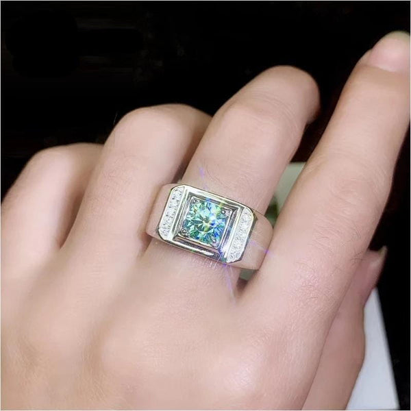 Thick Band Moissanite Ring 1 Carat Green Center Stone With Additional Side Stones - Luxus Moissanite Rings & Jewelry