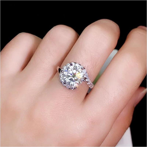 Halo Moissanite Engagement Ring, Silver Band 1, 2, or 3 Carat Options - Luxus Moissanite Rings & Jewelry