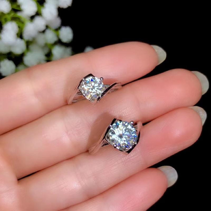 Solitaire Silver Moissanite Engagement Ring, 1 or 2 Carat Options - Luxus Moissanite Engagement Rings