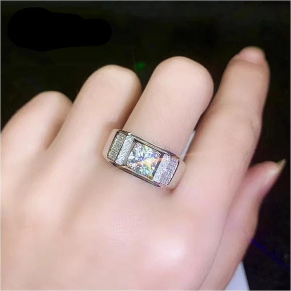 Thick Band / Wide Band Silver Moissanite Ring 1 Carat - Luxus Moissanite Rings & Jewelry