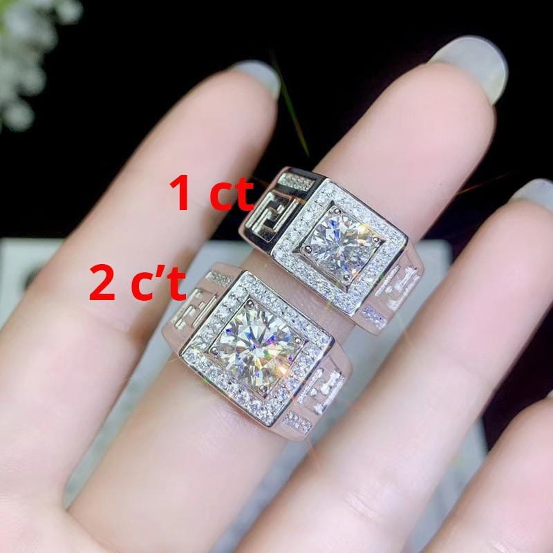 Thick / Wide Band Silver Moissanite Ring 1 & 2 Carat Options - Luxus Moissanite Rings & Jewelry