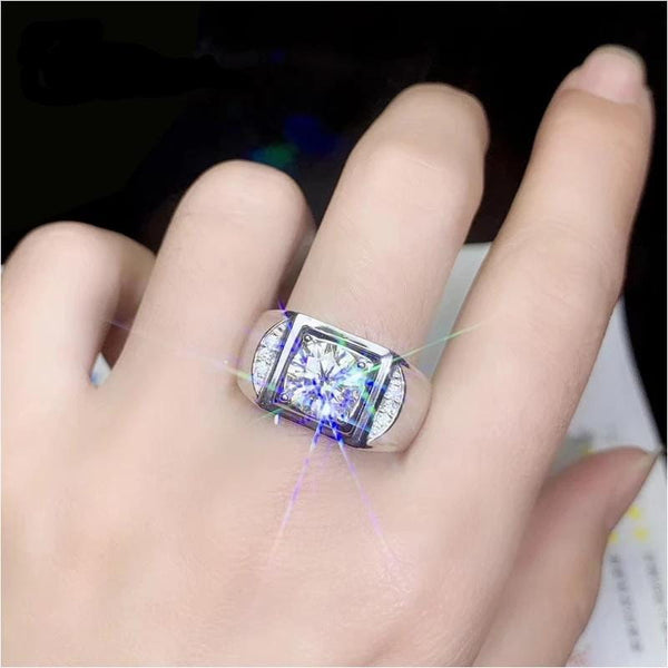 Large / Wide Silver Band Moissanite Ring With Side Stones 1 & 2 Carat Options - Luxus Moissanite Rings & Jewelry