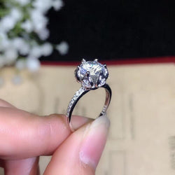 Platinum Plated Silver Vintage Halo Moissanite Ring 1.2ct Center Stone - Moissanite Engagement Rings & Jewelry | Luxus Moissanite