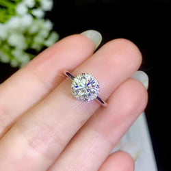 Moissanite Halo Engagement Ring Silver Band 1 or 2 Carat - Luxus Moissanite Rings & Jewelry