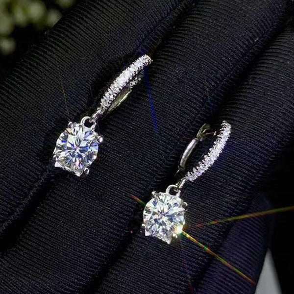 White Gold Plated Silver Drop Moissanite Earrings 1ctw - 2ctw Options
