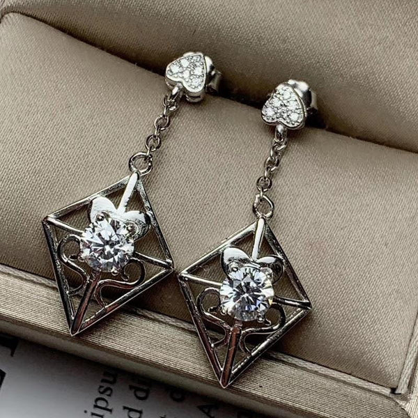 White Gold Plated 925 Silver Moissanite Earrings 2ctw