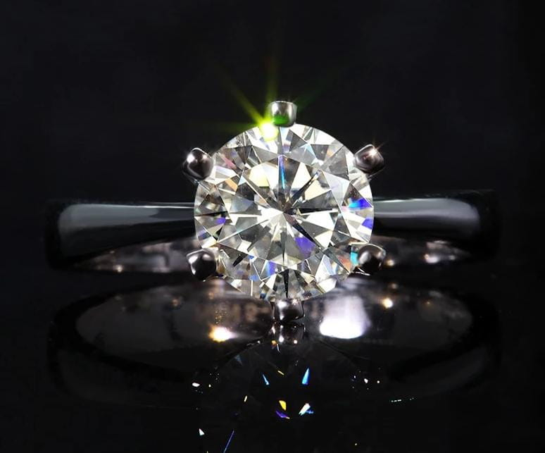 Vintage Silver Solitaire Moissanite Engagement Ring 1 Carat - Luxus Moissanite Rings & Jewelry