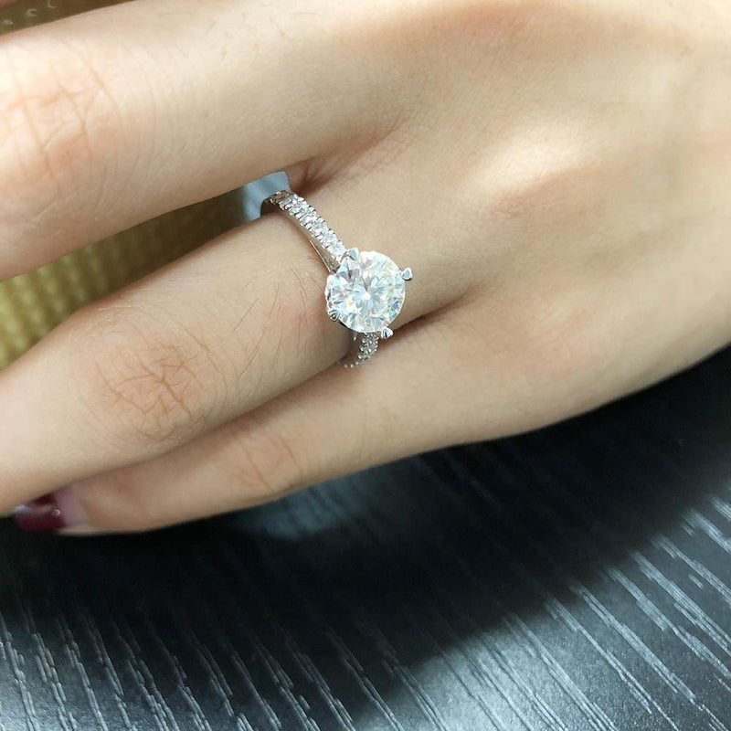 Platinum Plated Silver Moissanite Ring 1.5ct Center Stone - Moissanite Engagement Rings & Jewelry | Luxus Moissanite