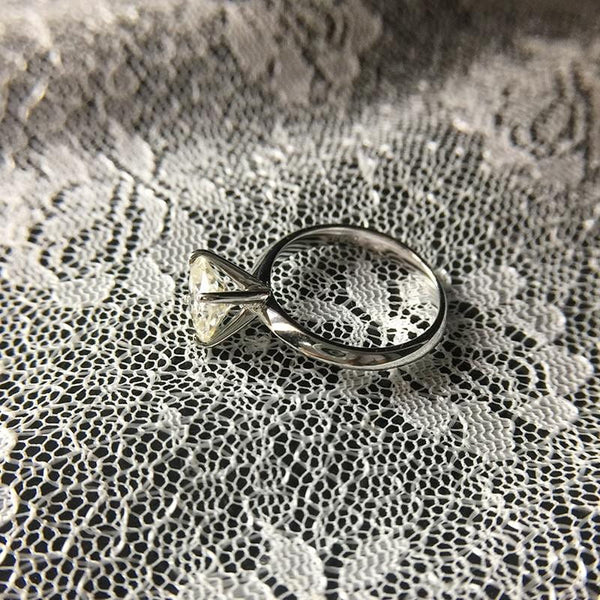 Platinum Plated Silver Cushion Cut Solitaire Moissanite Ring 2ct - Moissanite Engagement Rings & Jewelry | Luxus Moissanite