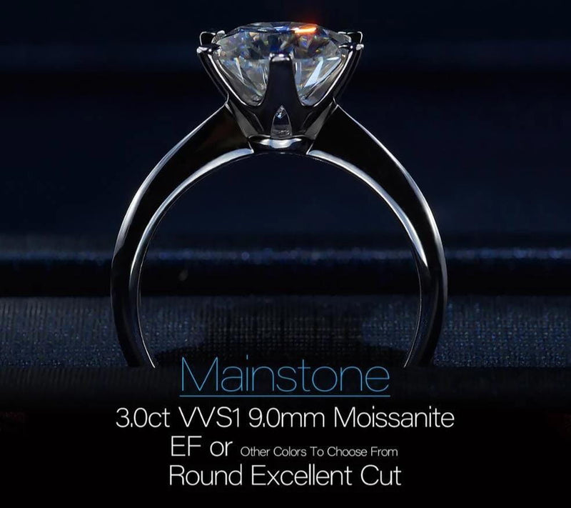 White Gold Plated Silver Solitaire Moissanite Ring 3ct (multiple colors) - Moissanite Engagement Rings & Jewelry | Luxus Moissanite