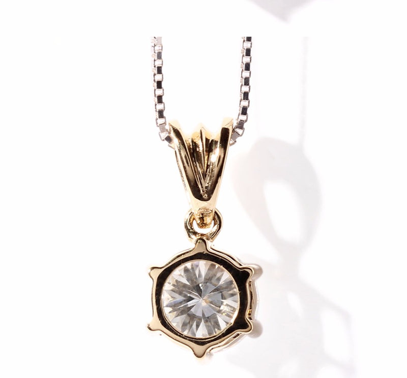 14k Yellow Gold Moissanite Necklace 1 Carat