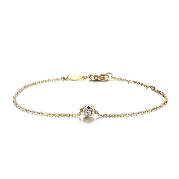 18k Yellow Gold Moissanite Chain Bracelet 0.1ct