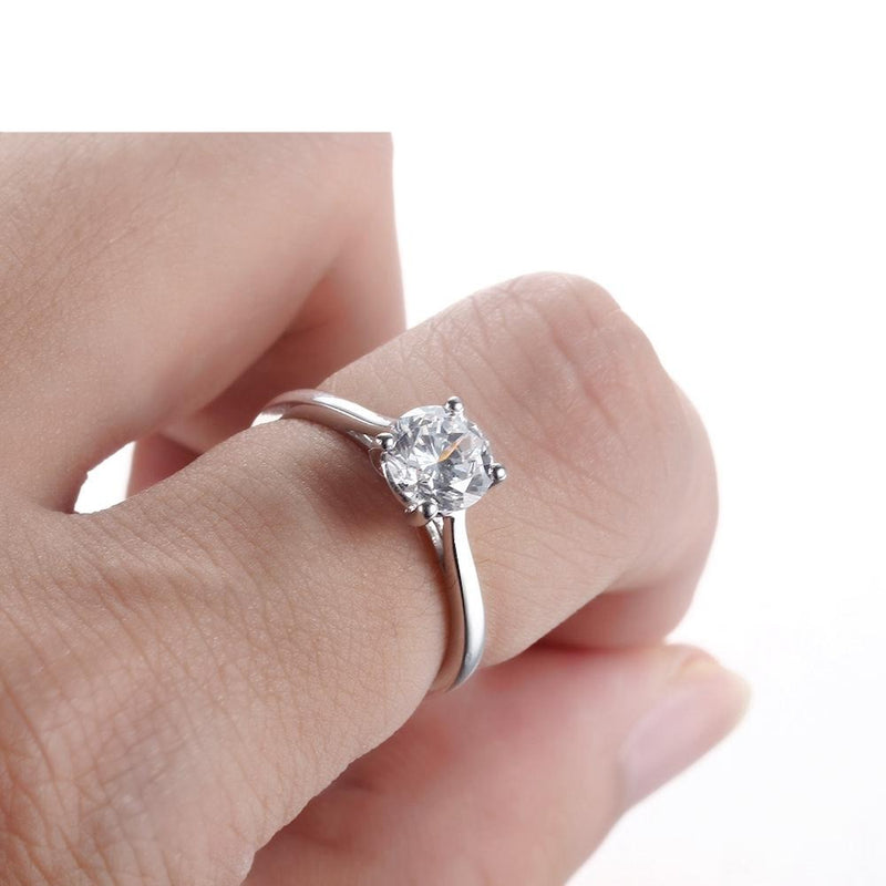14k White Gold Solitaire Moissanite Ring 1ct