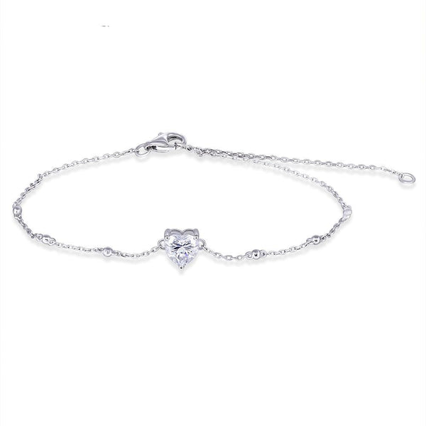 14k White Gold Moissanite Bracelet 1 Carat Heart Shaped Cut Stone