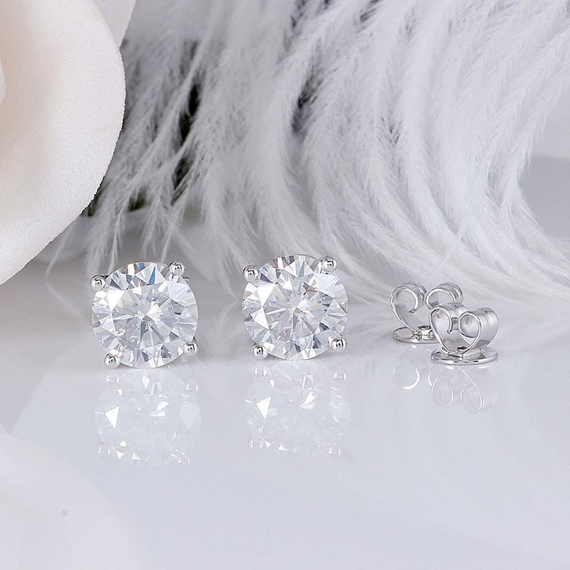 14k White Gold Stud Moissanite Earrings 1.68 & 2.6 Carat Total Options - Moissanite Engagement Rings & Jewelry | Luxus Moissanite