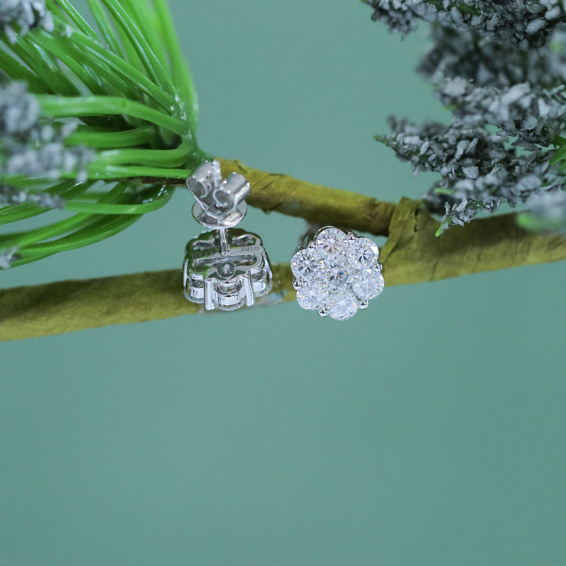 18k White Gold Halo Stud Moissanite Earrings 1.65ctw