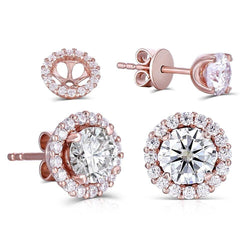 14k Rose Gold Halo Stud Moissanite Earrings 1.28ct Total - Moissanite Engagement Rings & Jewelry | Luxus Moissanite