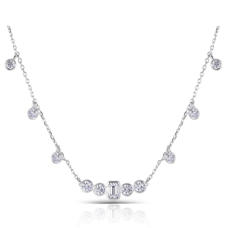 10k White Gold Moissanite Necklace 0.7 Carat Emerald Center Stone, 2.72 Carats Total