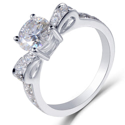 14k White Gold Moissanite Ring 1ct Center Stone