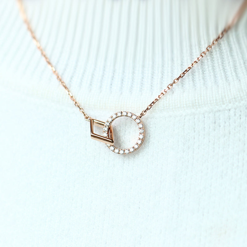 14k Rose Gold Moissanite Necklace