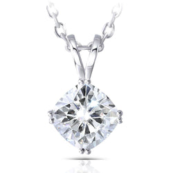 14k White Gold Moissanite Necklace / Pendant 2ct