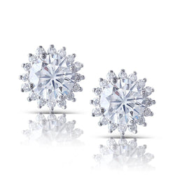 14k White Gold Halo Moissanite Stud Earrings 2.32ct Total - Moissanite Engagement Rings & Jewelry | Luxus Moissanite