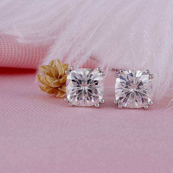 14k White Gold Moissanite Cushion Cut Stud Earrings 2.2ct Total - Moissanite Engagement Rings & Jewelry | Luxus Moissanite