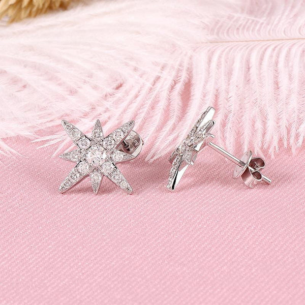 18k White Gold Star Moissanite Stud Earrings - Moissanite Engagement Rings & Jewelry | Luxus Moissanite