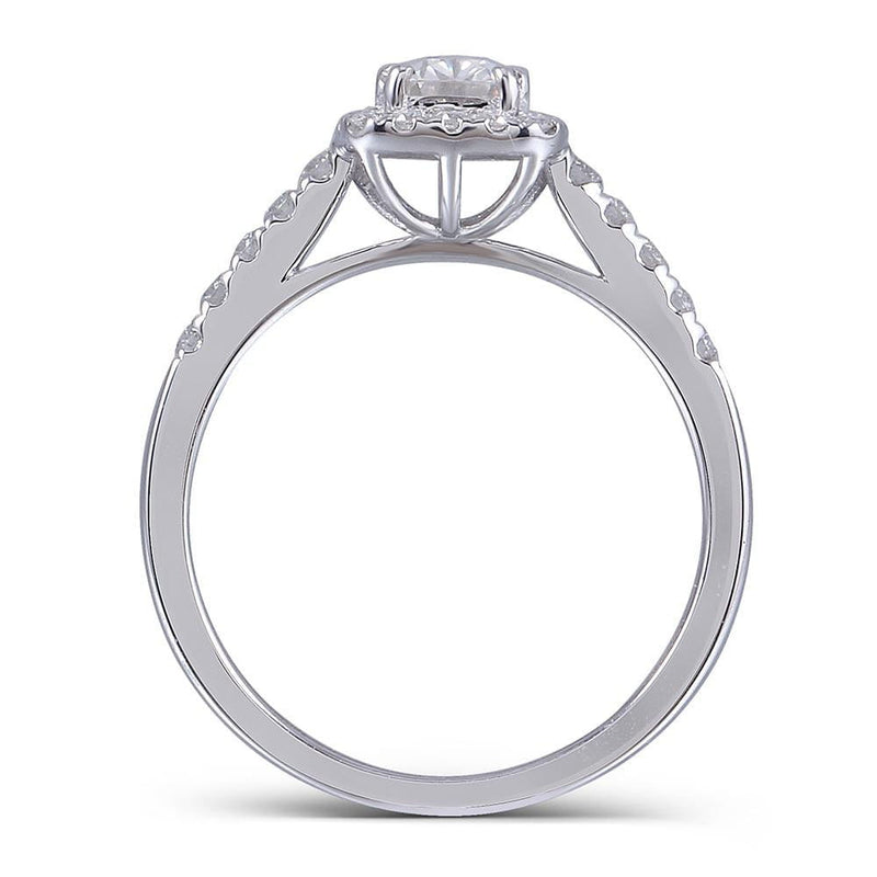 14k White Gold Oval Cut Halo Moissanite Ring 1ct Center Stone - Moissanite Engagement Rings & Jewelry | Luxus Moissanite