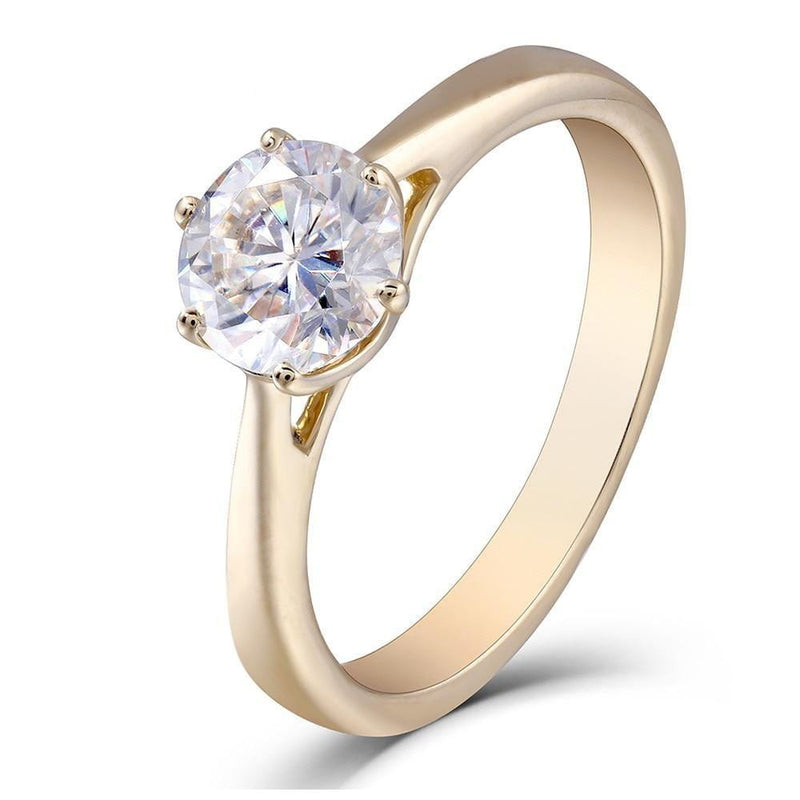 10k Yellow Gold Solitaire Moissanite Ring 1ct - Moissanite Engagement Rings & Jewelry | Luxus Moissanite