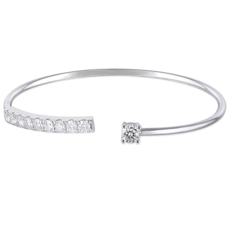 10k White Gold or Platinum Plated Silver Moissanite Bracelet 1.99 Carat Total - Moissanite Engagement Rings & Jewelry | Luxus Moissanite