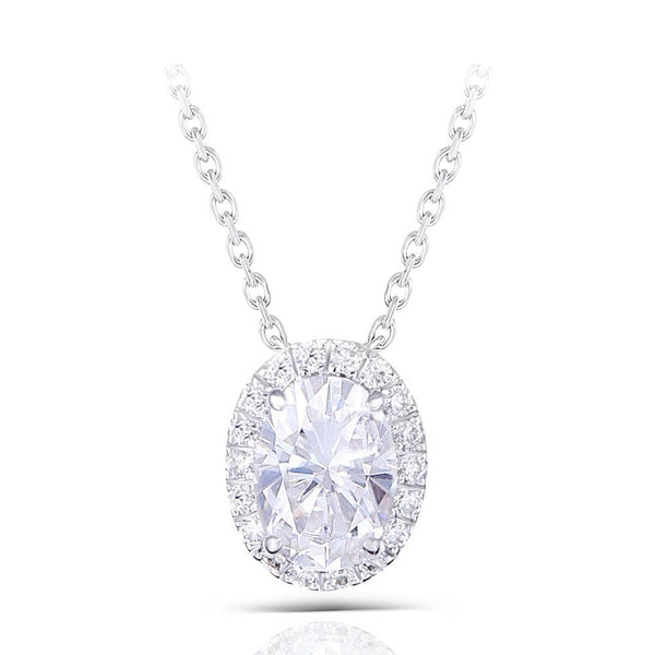 14k White Gold Moissanite Necklace 1ct Total