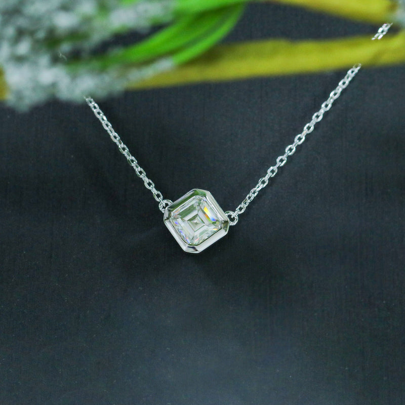 14k White Gold Asscher Cut Moissanite Necklace 1ct