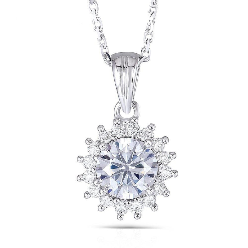 14k White Gold Moissanite Halo Necklace 1 Carat Center Stone - Moissanite Engagement Rings & Jewelry | Luxus Moissanite