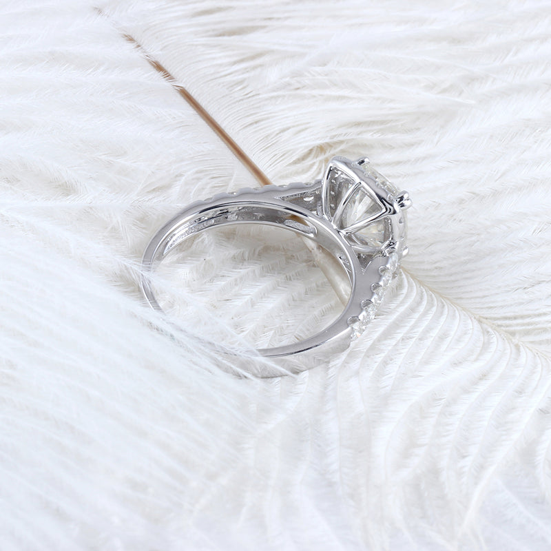 10k White Gold Halo Moissanite Ring 2.55ct Total