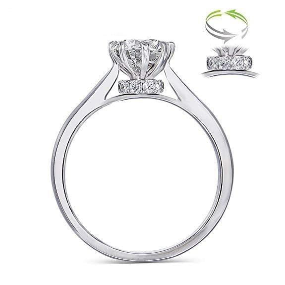 14k White Gold Octagon Cut Hidden Halo Moissanite Ring 1ct - Moissanite Engagement Rings & Jewelry | Luxus Moissanite