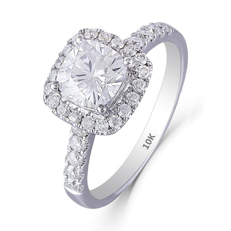 10k / 14k White Gold Halo Moissanite Ring 1.6ct Total - Moissanite Engagement Rings & Jewelry | Luxus Moissanite