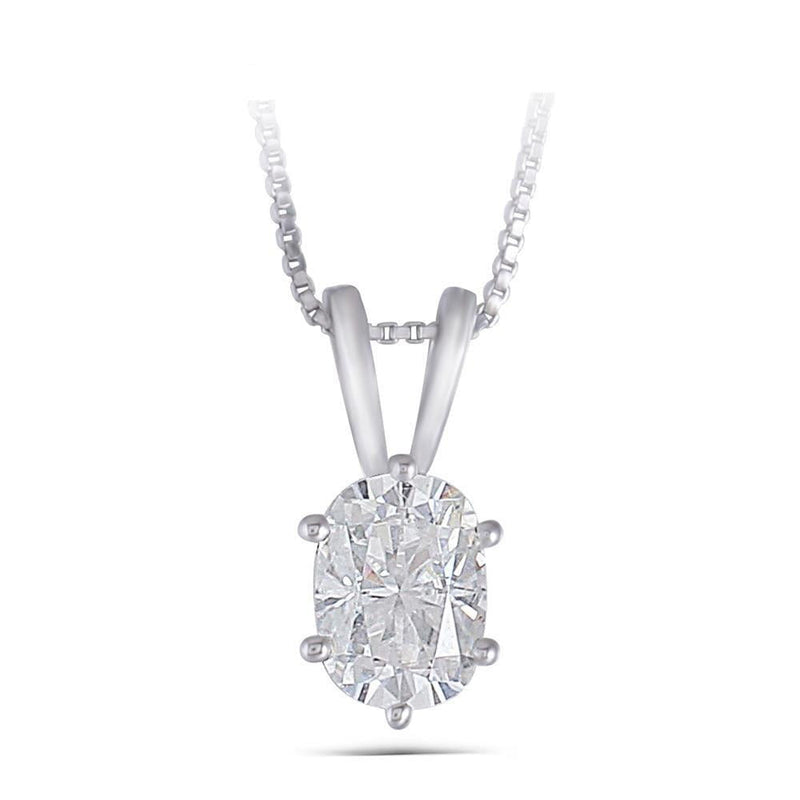 14k White Gold Moissanite Necklace Oval Cut 1ct