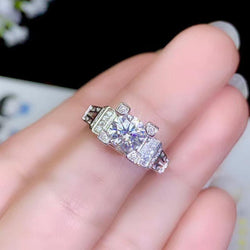 White Gold Plated Silver Vintage Moissanite Ring 1ct Center Stone - Moissanite Engagement Rings & Jewelry | Luxus Moissanite