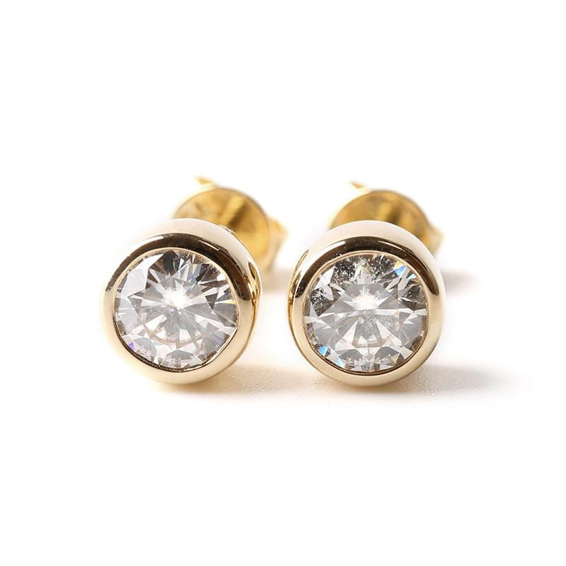 18k Yellow Gold Stud Moisssanite Earrings 1ct Total - Moissanite Engagement Rings & Jewelry | Luxus Moissanite
