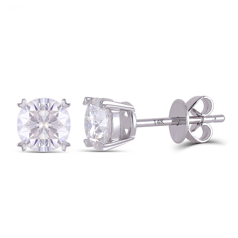 14k White Gold Stud Moissanite Earrings 2ctw