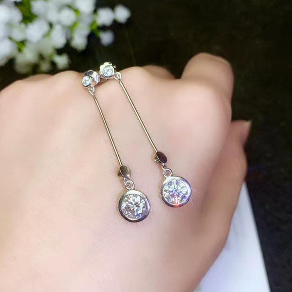 White Gold Plated Silver Moissanite Earrings 1ctw & 2ctw Options