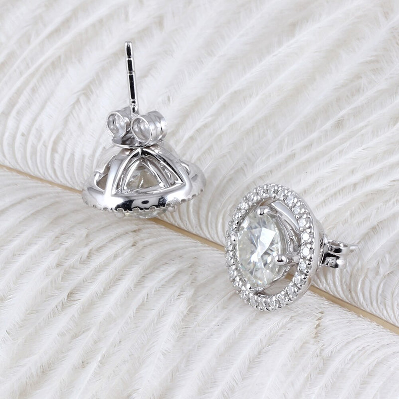 10k White Gold & Silver Moissanite Halo Stud Earrings 2.24ctw