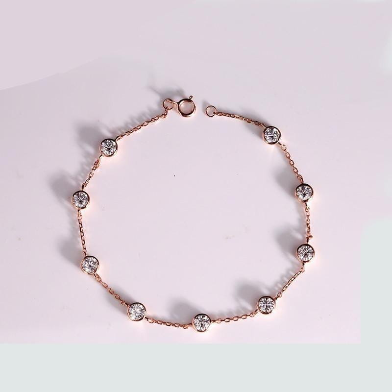 14k White / Yellow / Rose Gold Bezel Set Moissanite Bracelet 2.7ct