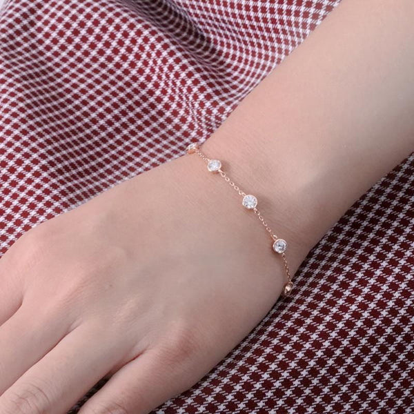 14k White / Yellow / Rose Gold Bezel Set Moissanite Bracelet 2.7ct - Moissanite Engagement Rings & Jewelry | Luxus Moissanite