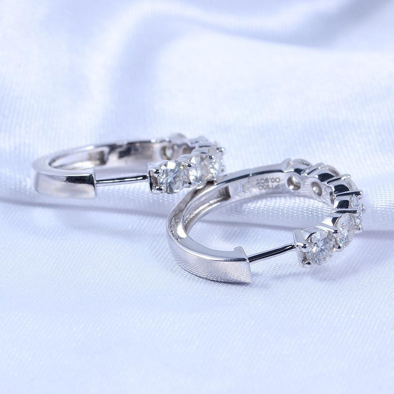 Platinum Plated Silver Hoop Moissanite Earrings 1.8 Carat Total - Moissanite Engagement Rings & Jewelry | Luxus Moissanite