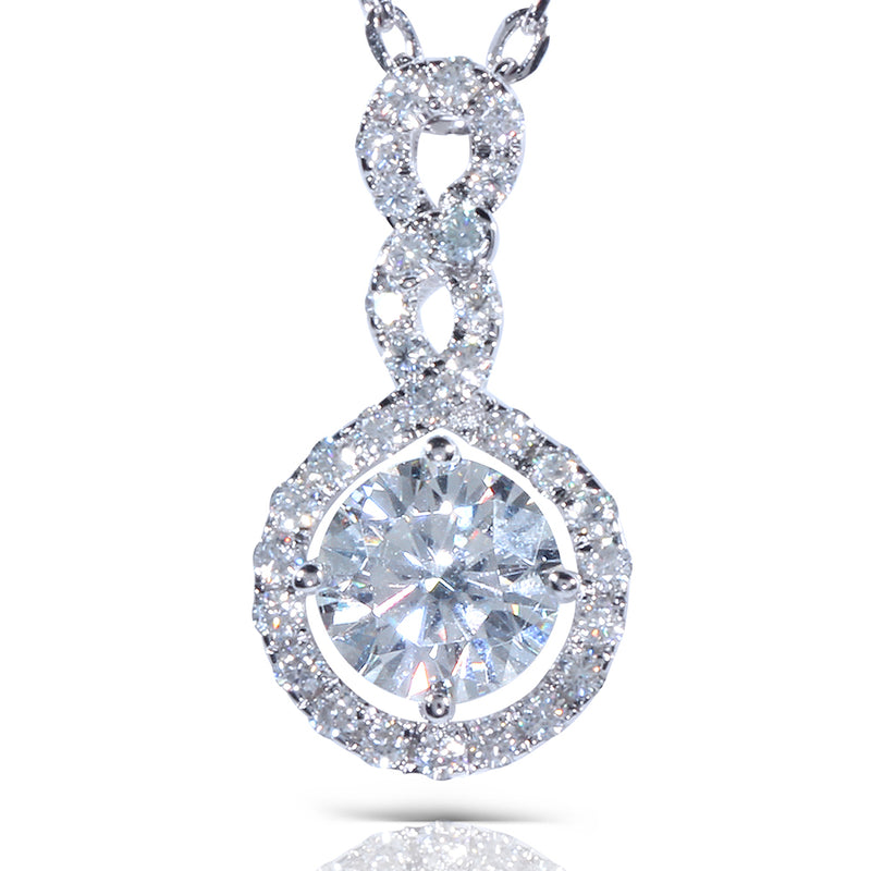 14k White Gold Total Moissanite Necklace / Pendant 1.3ctw