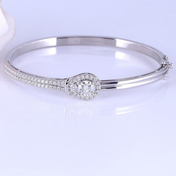 Platinum Plated Silver Moissanite Bracelet 1.95 Carat Total - Moissanite Engagement Rings & Jewelry | Luxus Moissanite