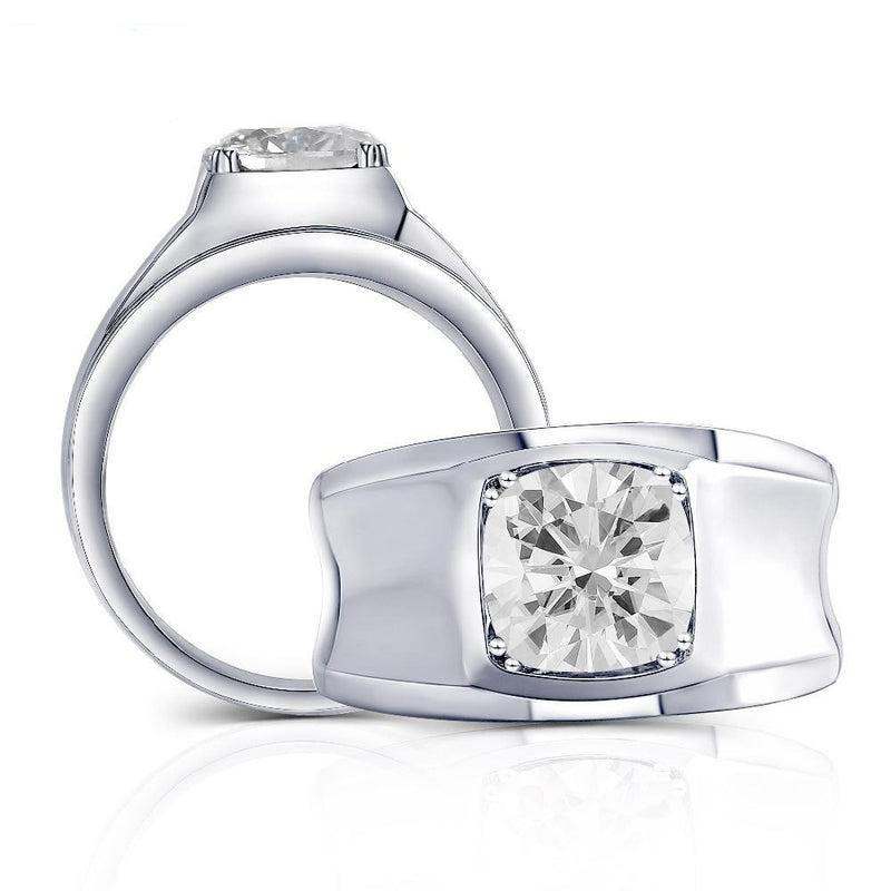 Platinum Plated Silver Wide Band Moissanite Ring 2ct (Grey Moissanite)
